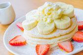 Pancake strawberry banana — Stock Photo