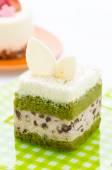 Matcha green tea cake isolated on white background — Stock Photo