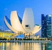 SINGAPORE, SINGAPORE - JUNE 25: The skyline of Singapore lit up  — Stock Photo