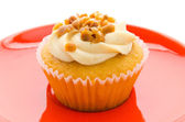 Nuts cupcake isolated on white background — Stock Photo