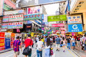 Crowded street view — Stock Photo