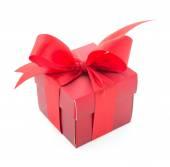 Beyaz arka plan üzerinde izole kırmızı hediye kutusu — Stok fotoğraf