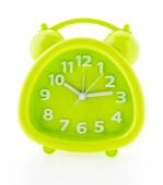 Green alarm clock isolated on white background — Stock Photo