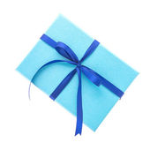 Blaue geschenk-box — Stockfoto