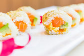 Salmon sushi roll maki — Stock Photo