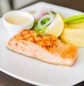 Salmon fish fillet grilled steak — Stock Photo