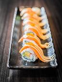 Salmon sushi roll maki — Stock Photo