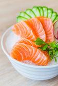 Salmon sashimi in white bowl — Stock Photo