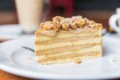 Coffee cake on white plate — Stock Photo