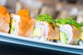 Delicious japanese sushi rolls — Стоковое фото