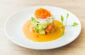 Tartar salmon salad — Stock Photo