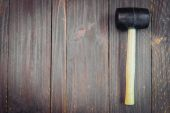 Hammer on wooden background — Foto Stock