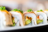 Delicious japanese sushi rolls — 图库照片
