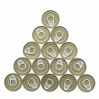 Top view of aluminum cans — Stock Photo #68211833
