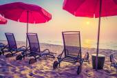 Sun loungers and umbrellas — Stock Photo