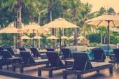 Sun loungers near the pool — Stockfoto