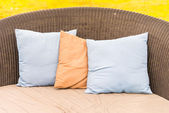 Pillows on bed in bedroom — Stock Photo
