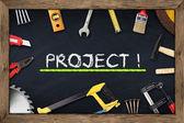 Tools project chalkboard — Stock Photo