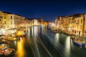Venice at night from rialto bridge — Stock Photo