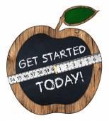 Get started today apple blackboard — Stock Photo