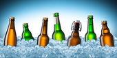 Beer bottles on ice — Stock Photo