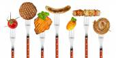 Grilled food on forks — Stock Photo