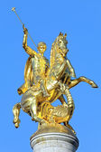 Sculpture of St George on the top of Freedom Monument in Tbilisi — Stock Photo