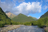 Morning view of Khares river and Kubus Mount, Caucasus, Russia — Stock Photo