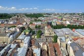 View of Lviv from the tower of Lviv City Hall, Ukraine — Stock Photo