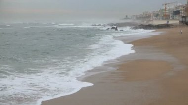 Sea Waves over Sand Beach — Stock Video