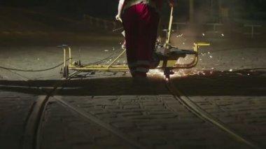 European Caucasian man fixing the rails — Stock Video