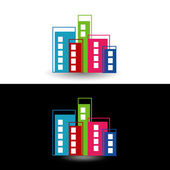 Colorful skyscrapers- logo for property business — Stock vektor