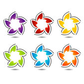 Rainbow colored floral design element or logo for web use — Stock Vector