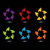 Rainbow Kolorowe logo do użycia w sieci web lub element kwiatowy wzór — Wektor stockowy