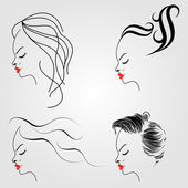 Women with different hairstyles — Stock Vector