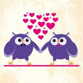 Two owls gays — Stock Vector