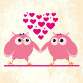 Owls lesbians in love — Stock Vector