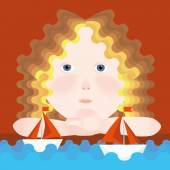 Girl and boat with scarlet sails — Stock Vector