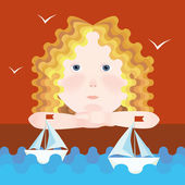 Girl and sailboats — Stock Vector