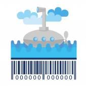Submarine and barcode — Stockvector