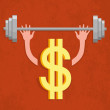 Dollar sign - weightlifter — Stock Vector #58496907