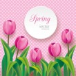 Pink tulips on polka dots background — Stock Vector #70020141