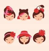 Fashion girls in head accessories icon set vector illustration — Stock Vector