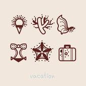 Letní prázdniny ikona kolekce vektorové ilustrace — Stock vektor