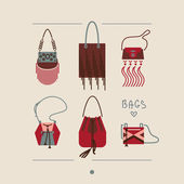 Collection of woman bags and purses vector illustration — Stock Vector