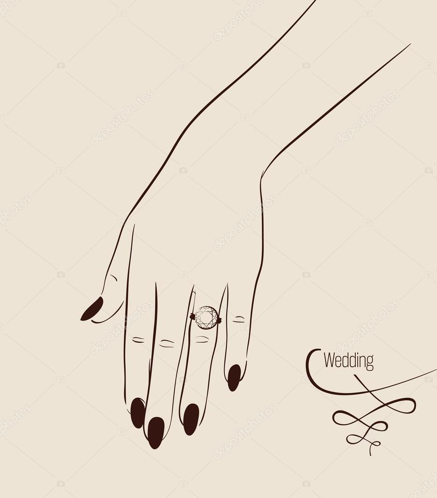 Main de femme portant un dessin de la bague de mariage - Dessin de la main ...