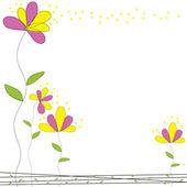 Розовый и желтый цветок каракули сад карт вектор — Cтоковый вектор