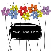 Flowers doodle with black label for text vector — Stock vektor
