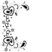 Black and white heart and flower doodle for background or card v — Stockvector