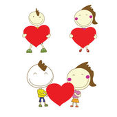 Boy and girl couple smile holding red heart for Valentine's Day  — Stock Vector